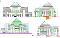 All Sided Elevation of One Family Housing Project dwg file
