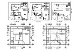 All floor layout plan and cover plan details of house dwg file