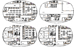 All floor plan details of media center head office building dwg file