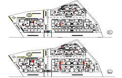 All floor plan details of residential apartment flats project dwg file