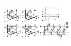 All floors constructive sectional details of staircases of club house dwg file