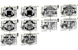 All floors layout plan details of multi-level corporate building dwg file