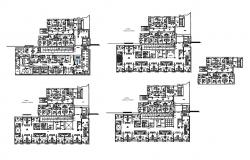 All floors layout plan details of multi-level maternity hospital dwg file