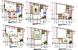 All floors layout plan details of multi-level office building dwg file