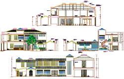 All side elevation, lateral section view, administration office dwg file