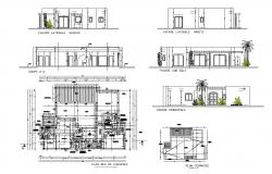 All sided elevation, section and plan details of villa type house dwg file