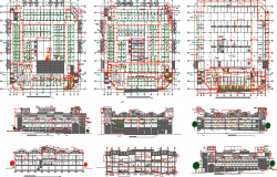 All sided elevation, section and floor plan details of shopping center dwg file