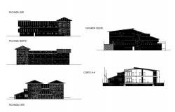 All sided elevation and back sectional details of one family house dwg file