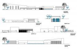 All sided elevation and cut section details of administration building dwg file