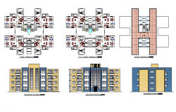 All sided elevation and floor plan details of residential apartment building dwg file