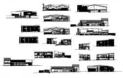 All sided elevation and section details of multi-level office building dwg file