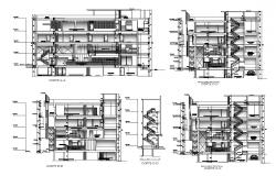 All sided elevation and sectional details of Association of savings and credits san martin building dwg file