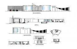 All sided elevation and sectional details of Mary hotel dwg file