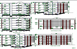 All sided elevation and sectional details of corporate building dwg file