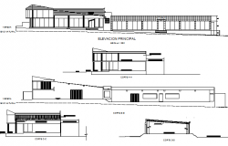 All sided elevation and sectional details of mini shopping center dwg file
