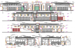 All sided elevation and sectional details of mini shopping mall dwg file