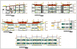 All sided elevation and sectional details of multi-flooring college building dwg file