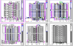 All sided elevation and sectional details of residential apartment building dwg file