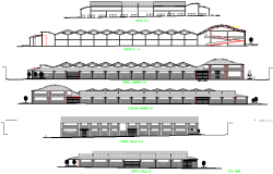 All sided elevation and sectional view details of super market dwg file