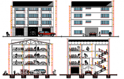 All sided elevation & sectional view of multi-flooring office building dwg file