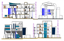 All sided elevation & sectional view, municipality corporation building dwg file