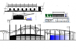 All sided elevation and sectional view of terminal shopping mall details dwg file