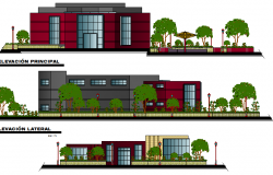 All sided elevation details of finance center building dwg file