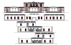 All sided elevation details of government building dwg file
