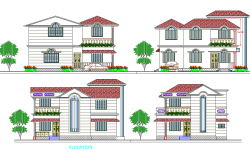 All sided elevation details of modern residential bungalow dwg file
