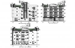 All sided elevation details of multi-familiar residential building dwg file