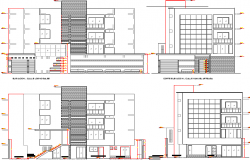 All sided elevation details of multi-flooring housing apartment dwg file
