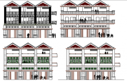 All sided elevation details of multi-flooring residential building dwg file