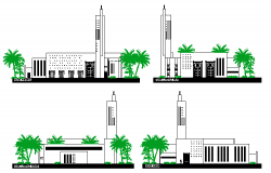 All sided elevation details of religious city mosque dwg file