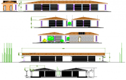All sided elevation details of small city market dwg file