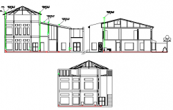 All sided elevation details of two flooring house dwg file
