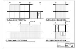 All sided elevation details of two-story house dwg file