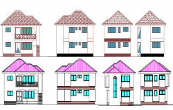 All sided elevation of One story two flooring housing building dwg file