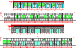 All sided elevation of multi-flooring tourist hotel dwg file