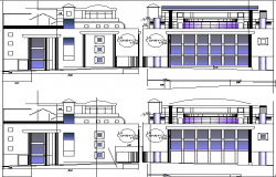 All sided elevation view details of multi-level shopping center dwg file