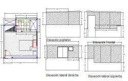 All sided elevation view of bedroom with plan dwg file