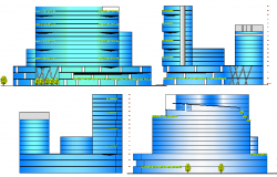 All sided elevation view of office building with hotel and shopping dwg file