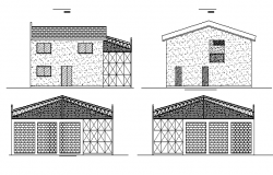 All sided elevation view of single family house project dwg file