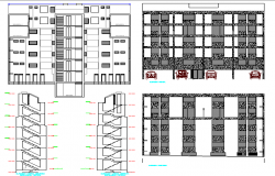 All sided elevation view of six story residential building dwg file