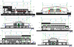 All sided elevations and sectional details of two-story shopping center dwg file