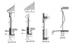 All sided exterior constructive section details of building dwg file