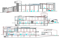 All sided sectional details of local city market dwg file