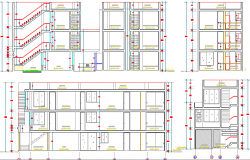 All sided sectional details of multi-family housing building dwg file