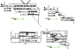 All sided sectional details of parking building of municipal garden dwg file