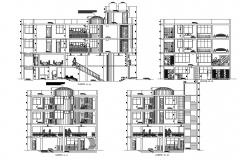 All sided sectional details of residential apartment building dwg file