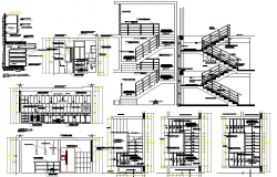 All sided sectional details of three level housing bungalow dwg file